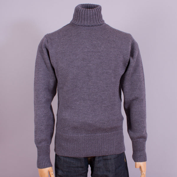 Turtleneck jumper in grey wool front view