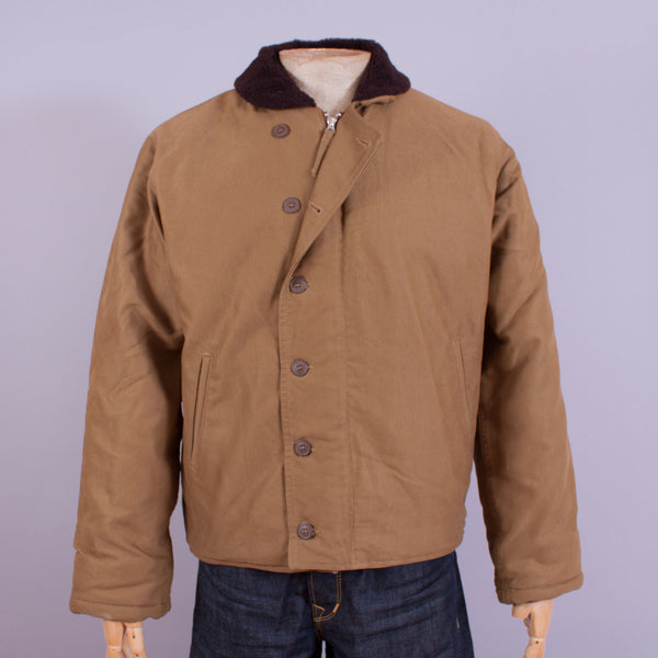 1944 USN N-1 deck jacket in khaki front view
