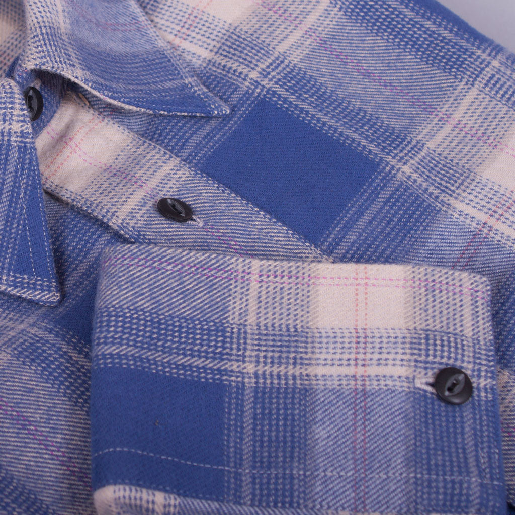 Light Navy Check Flannel Work Shirt - J. Cosmo Menswear