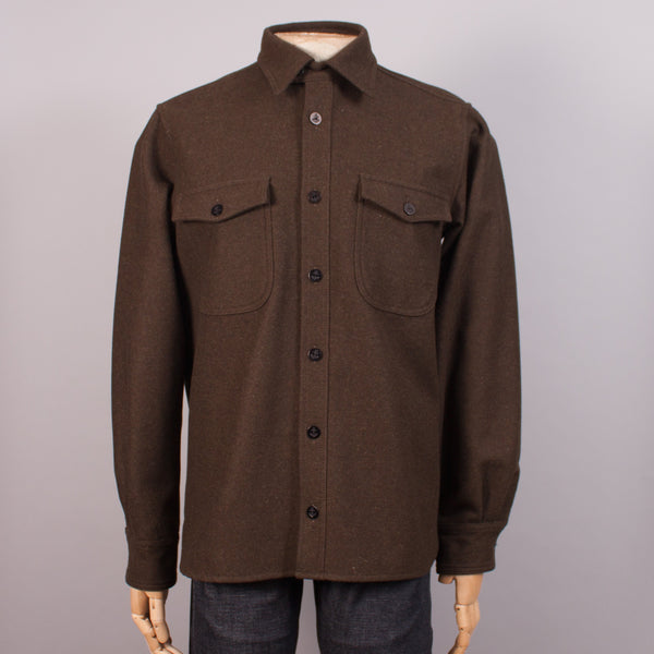 Olive Wool CPO Shirt - J. Cosmo Menswear