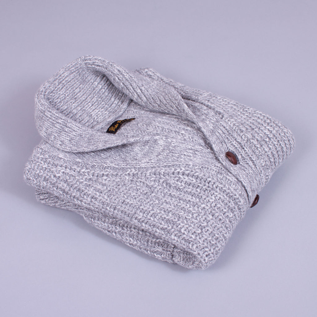 Shawl Neck Cardigan - Grey Wool - J. Cosmo Menswear