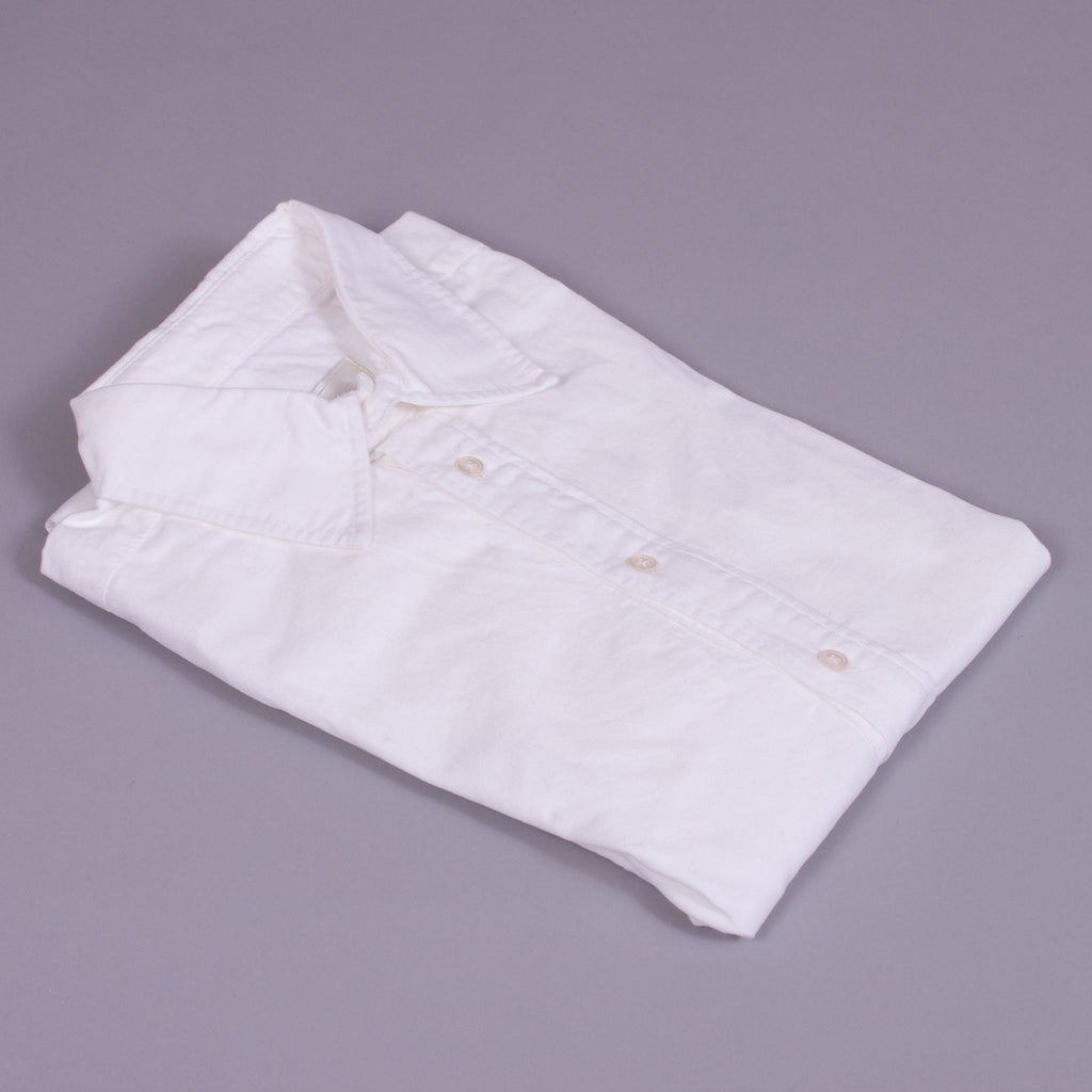 White Cotton Half Placket Work Shirt - J. Cosmo Menswear