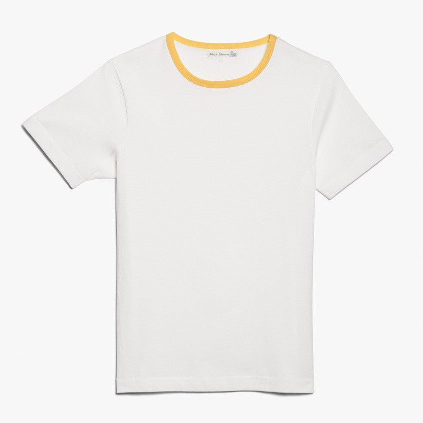 Fifties T-Shirt - White w/ Yellow Collar, Organic Cotton - J. Cosmo Menswear