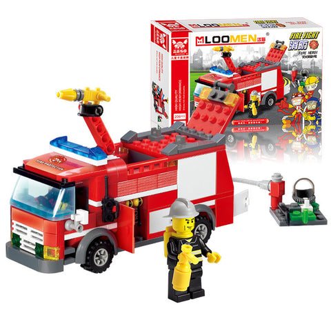 206pcs Fire Truck Building Blocks Small Particles DIY Action Figure Toys - Rakupos