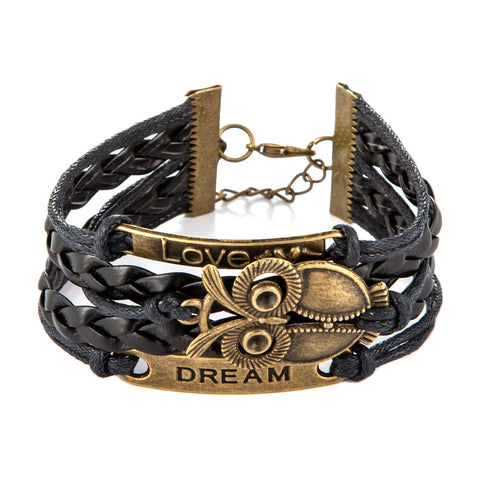 Anchor Rudder Love Cross Owl Charm Leather Bracelet - Rakupos