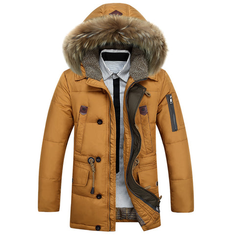 KUYOMENS Men's Down Jackets Thick Warm Fur Collar Hooded Duck Down Coat