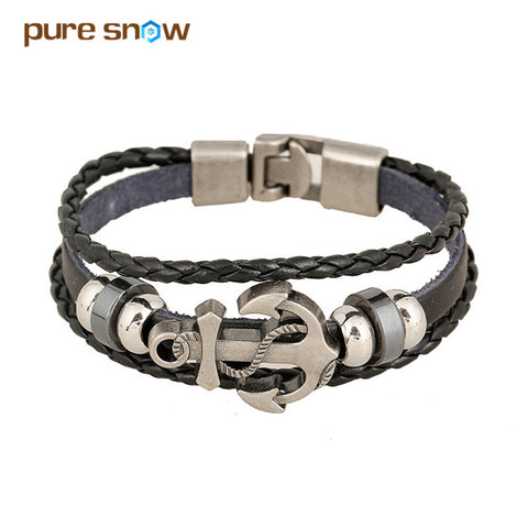 Wristband Charm Jewelry Multilayer Leather Bracelets & Bangles for Men and Women Anchor Bracelet Accessories Wholesale