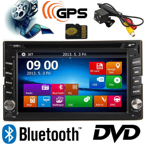 6.2inch Car Monitor TFT 2 Din Car DVD Player GPS MP5/MP4 USB/SD Bluetooth FM/AM Radio Car Audio With Rear View Camera - Rakupos