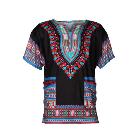 2017 New Fashion Short sleeve Traditional Casual Loose Thailand Style African Print - Rakupos
