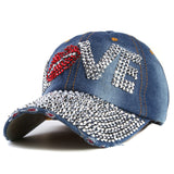 Rhinestone cap love letter snapback hats for men and women