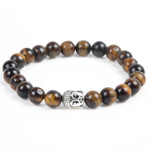 Antique Silver Plated Buddha Tiger Eye Lava Turquoise Natural Stone Bracelet - Rakupos