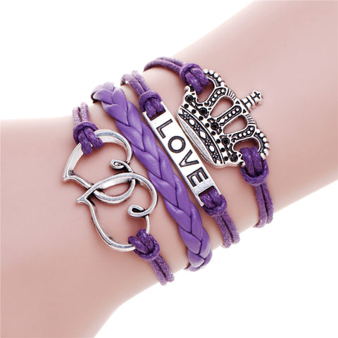 Anchor Owls Charm Bracelet Wax Cords Leather Unisex - Rakupos