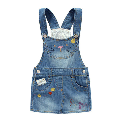 Girl Denim Skirt Cute Hello Kitty Girls Denims Suspender Overalls Girl 3-8Years Casual - Rakupos