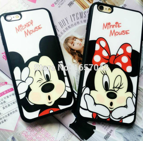 Fashion Cover For iPhone 7 7Plus 6 6s Plus 5 5s SE Case Mickey Minnie Mouse Lovers Mobile Phone Cases Silicone Shell - Rakupos