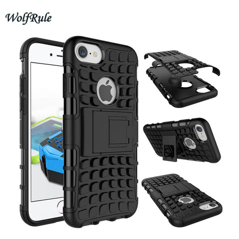 Cover For iPhone 7 Case Soft Rubber & Hybrid Plastic Armor Case Phone Holder Stand - Rakupos