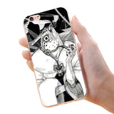 KISSCASS For iPhone 7 6 6s Plus 5 5s Cool Animal Phone Case Fish Wolf Owl Beer Rabbit Soft TPU Sillicon Case Back Cover