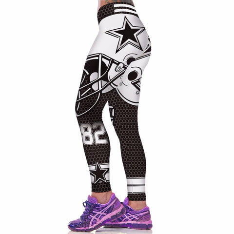 Active Women Sport Leggings Sexy Fitness Pants Floral Gothic Wide Workout Clothing Waisted Sportswear