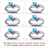Personalized Engrave Name Birthstone Love Heart Promise Ring 925 Sterling Silver Free Gift Box