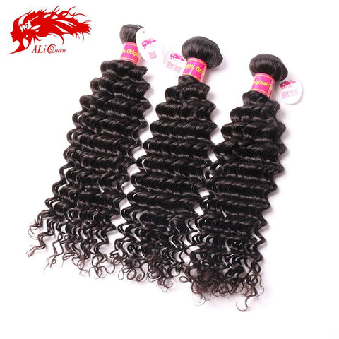 Ali Queen Hair Cheap 6A Brazilian Deep Wave Curly Virgin Hair Weave 3 Bundles Unprocessed Virgin Brazilian Human Hair weave - Rakupos