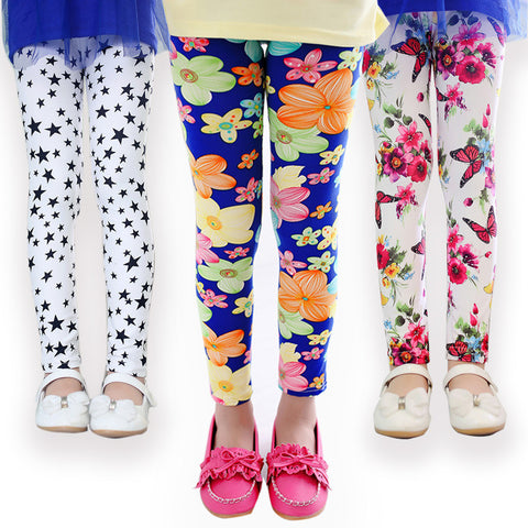 Girl Pants Printing Flower Leggings Toddler Classic - Rakupos