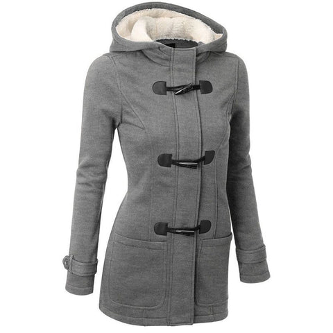 Women Trench Coat Spring Autumn Overcoat Long Hooded Zipper Horn Button Outwear