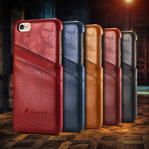 Business Style Luxury Leather Case For Apple iphone 6 6S Cover Fashion Wallet Card Holder Wax Phone Funda Bags For iphone6 6s - Rakupos