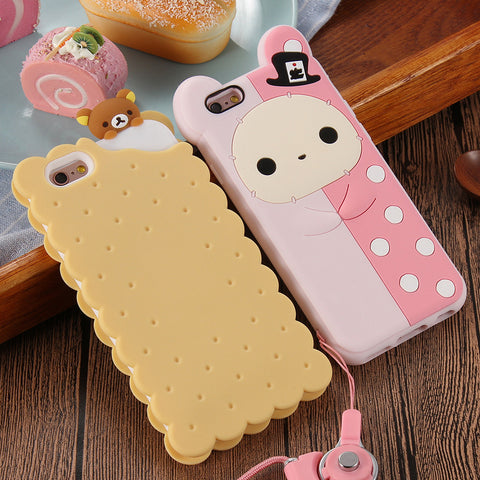 Cute Apple iPhone Cases In 3D Cartoon Biscuit