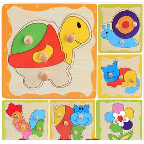 2016 New Free Shipping 8 Styles Wooden Kids Jigsaw Puzzles Toys With Animals Pattern For Children Education And Learning MBF4 - Rakupos