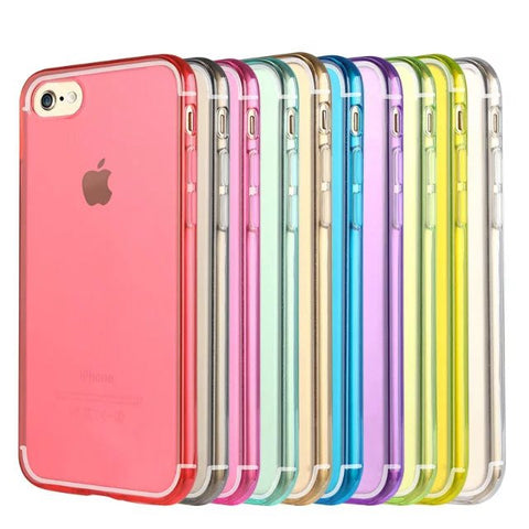 Apple iPhone 7s Case Transparent Colourful Design Slim Soft Silicon
