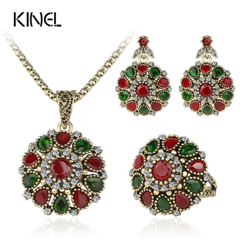 Crystal Flower Necklace Sets Fashion Earing For Women 2014 Strawberry Jewelry Turkish 3Pc Combination Nigerian Red Bead Necklace - Rakupos