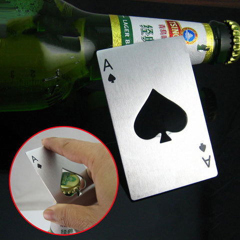 Beer Bottle Opener Poker Playing Card Ace of Spades