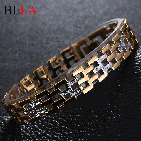 18K Gold Plated Chain Men Stainless Steel Bracelet - Rakupos