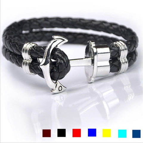 Zinc Alloy Leather Rope Anchor Unisex Bracelet