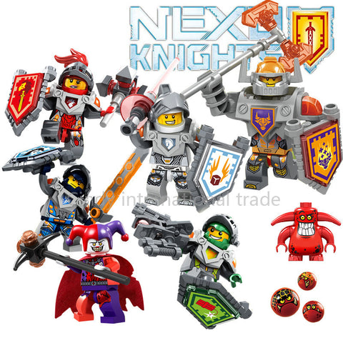 6pcs/lot Nexus Knights Future Knight Castle Warrior New Building Block Mini figures Bricks Kid Toy Gift - Rakupos