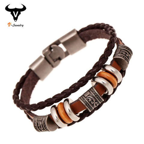3 Layers Hand Braided Brown Leather Unisex Bracelet - Rakupos