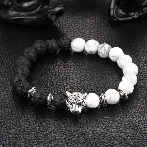 2016 New White and Black Silver Plated Leopard Charm Stone Beads Bracelets For Men Lava Matte Fashion Jewelry - Rakupos