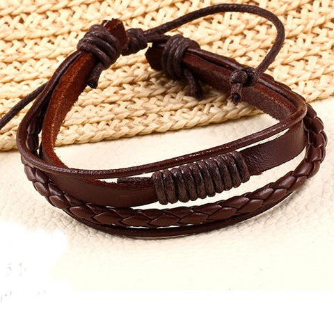 100% Hand-Woven Leather Strap Chain Bracelet