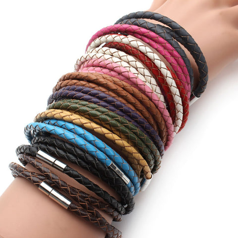 100% Genuine Leather Braided Bracelet Magnetic Clasps - Rakupos