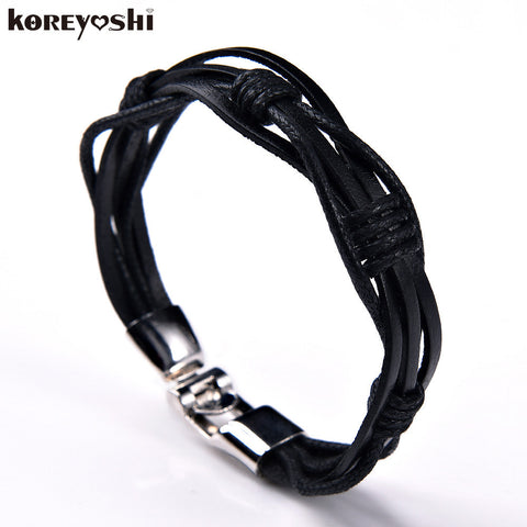 Bracelet man 2016 new Hot fashion jewelry women leather bracelets genuine Zinc Alloy Black Wax rope Vintage Bracelets & Bangles - Rakupos
