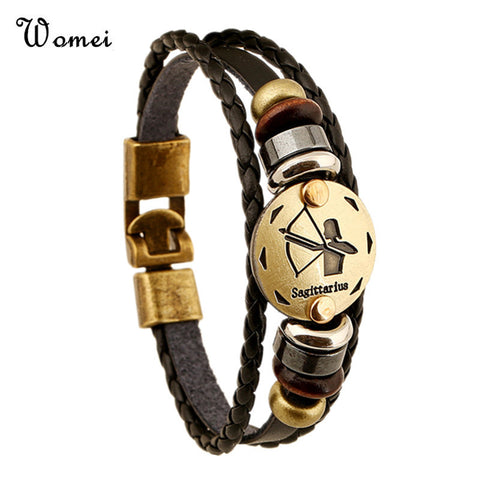 12 Zodiac Signs Leather Fashion Jewelry Bracelets Men Casual Personality Alloy Vintage Punk Bracelet - Rakupos