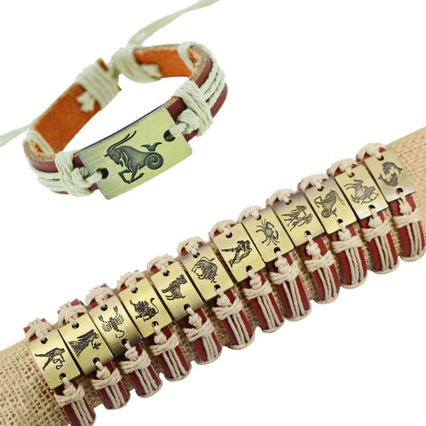 Alloy Constellation Zodiac charms tribe Genuine Leather bracelet Unisex