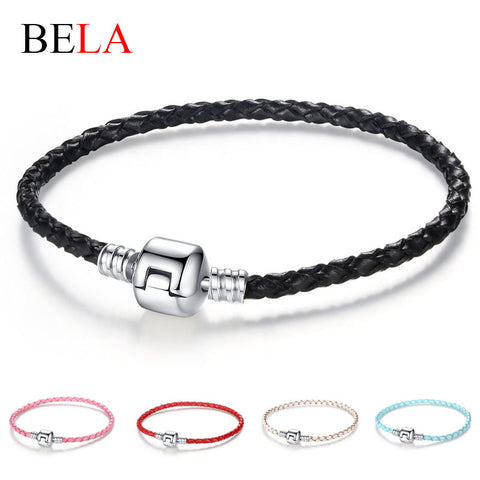 Autnentic Unique Silver Plated Clasp Genuine Leather Bracelet Women Men Original Charm Bracelet Bangles DIY Bead Jewelry - Rakupos