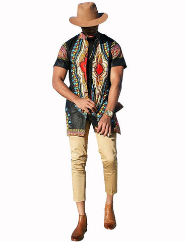 Autumn New Fashion Dashiki Traditional Clothing Men Short Sleeve Trench Print African - Rakupos