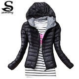 2017 Autumn Winter Women Basic Jacket Coat Female Slim Hooded Brand Cotton - Rakupos