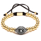 24K Gold Plated Beads & 6mm Pave Setting Black CZ Evil Eye Connector Braiding Men Macrame Bracelet