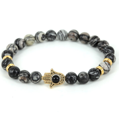 24K Gold Plated Lion Head Natural Spider Web Jasper Stone Beads Skull Bracelets