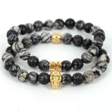 24K Gold Plated Lion Head Natural Spider Web Jasper Stone Beads Skull Bracelets - Rakupos