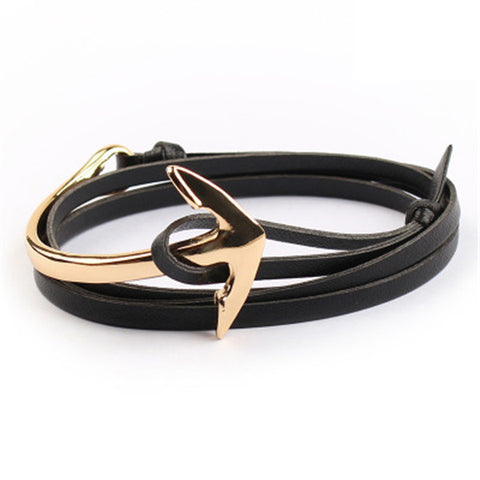 68cm Tom hope New Arrival Fashion Jewelry Leather Wire Chain Anchor Bracelet - Rakupos
