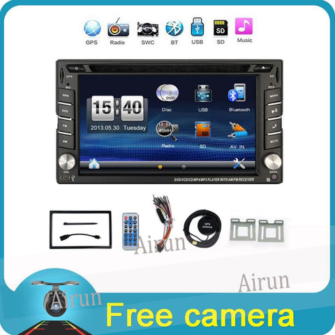 "6.2"" Touch Screen car dvd player gps navigation USB SD Bluetooth FM 2din in dash TFT support rear view camera input - Rakupos"