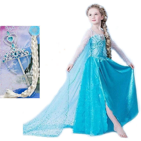 Elsa dress girls Dress Custom anna Cosplay Dress kid fantasia - Rakupos